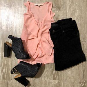 GUESS Light Pink Semi-Sheer Ruffle Sleeveless Top